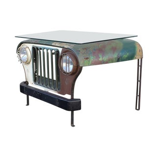 Vintage Military Jeep Desk With Glass Top