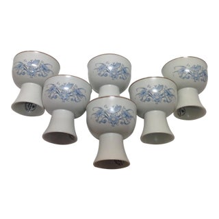 Royal Doulton Blue Flower Goblets - 6