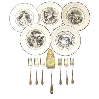 Antique French Transferware Salad or Dessert Service - Set of 12