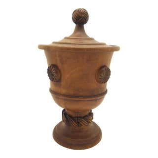 Antique Wooden Treenware Pedestal Cup With Lid