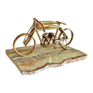 Brass Motorcycle Sculpture Cyclone Racer