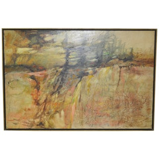 Vintage Mid-Century Abstract Oil Painting