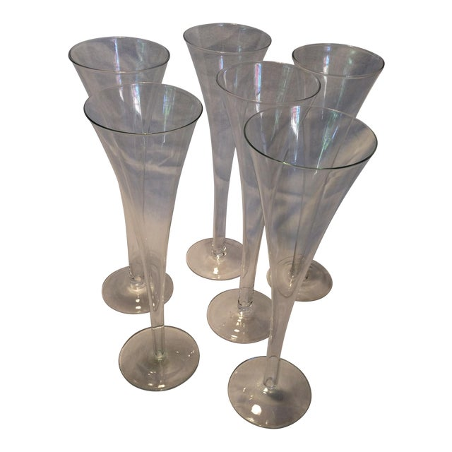 6 hollow stem crystal champagne flutes chairish - Hollow stem champagne glasses ...