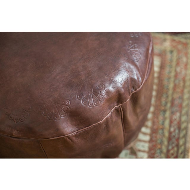 Antique Revival Whiskey Brown Leather Pouf Ottoman - Image 3 of 7
