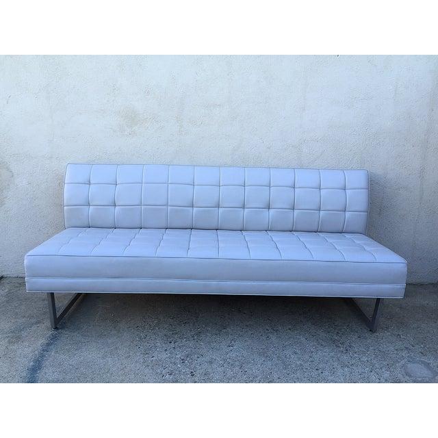 Modern Vinyl Chrome Legs Sofa - Image 2 of 10