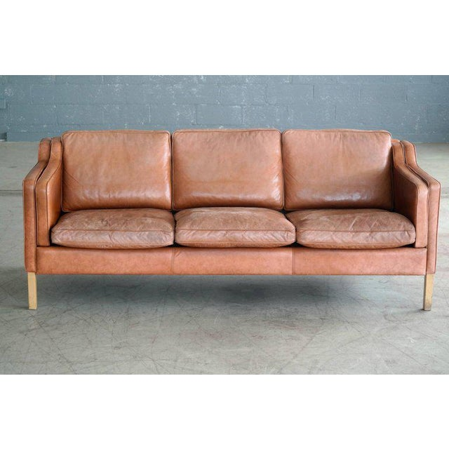 Børge Mogensen Style Sofa Model 2213 in Light Cognac Leather by Stouby Mobler - Image 2 of 10