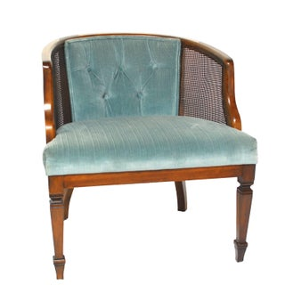 Cane and Velvet Barrel Chair