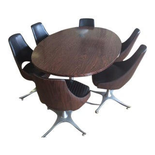 Mid-Century Oval Table & 6 Swivel Chairs
