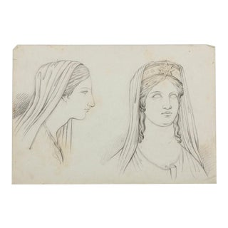 Antique Graphite Drawing Of A Goddess