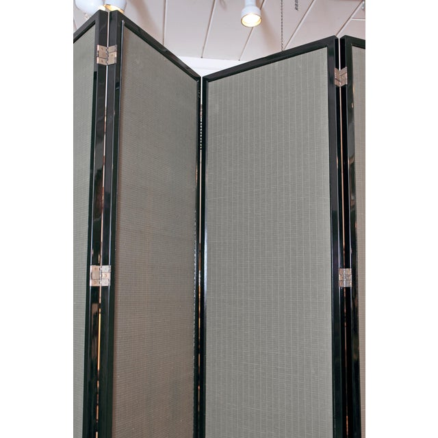 Large Neo Classical Six-Panel Black Lacquer and Fabric Screen/Room Divider - Image 10 of 11