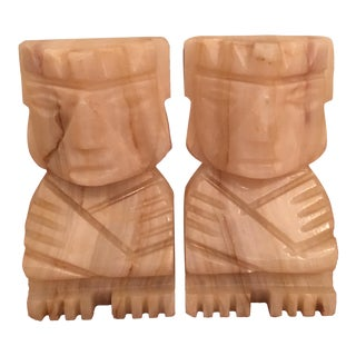 Small White Marble Tiki God Bookends - Pair