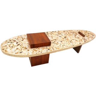 Harvey Probber Terrazzo and Walnut Surfboard Coffee Table