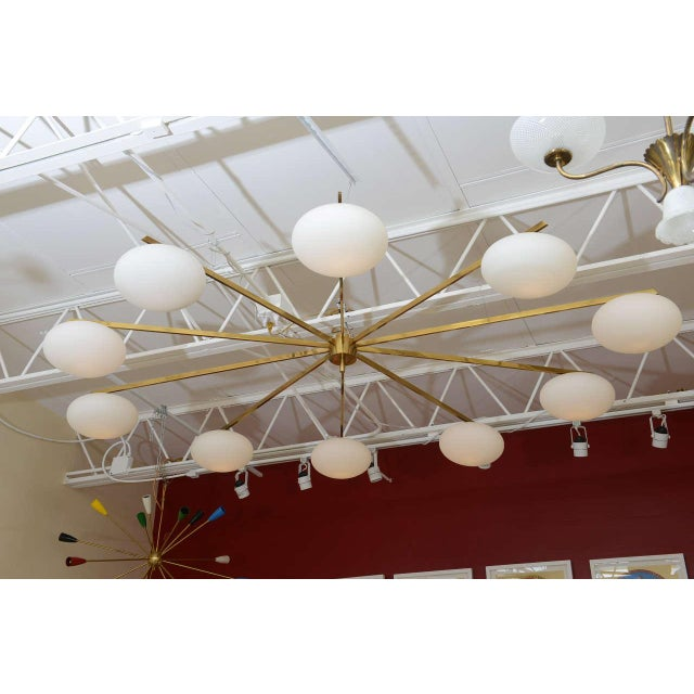 Mid-Century Modern Ten-Opaline Shade Chandelier in the style of Arredoluce - Image 6 of 10