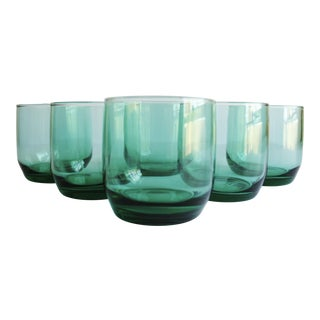 Green Lowball Glasses - Set of 6