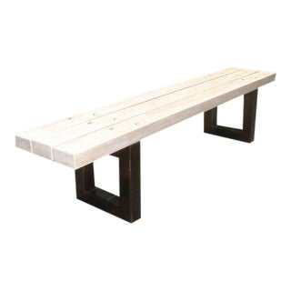White Oak Slatted Bench with Metal Supports