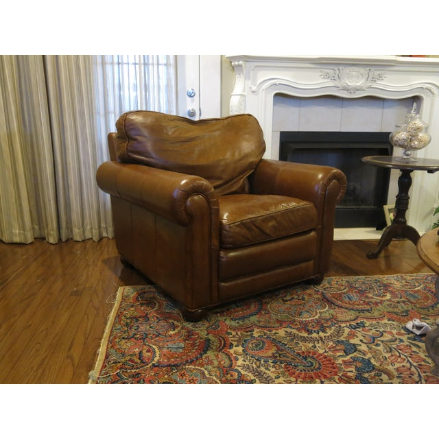Image of Brown Leather Lounge Chair