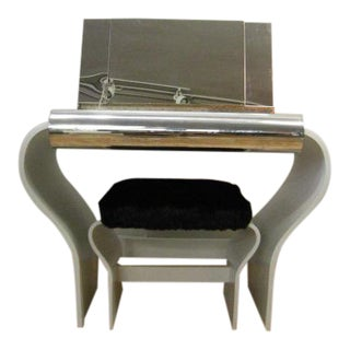 1970s White Lacquer Mirrored Vanity and Stool