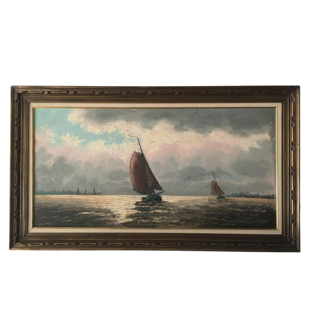 Oil Painting of Sailboats - Image 1 of 5