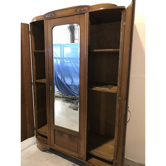 Image of Arts & Crafts Oak & Mirrored Armoire