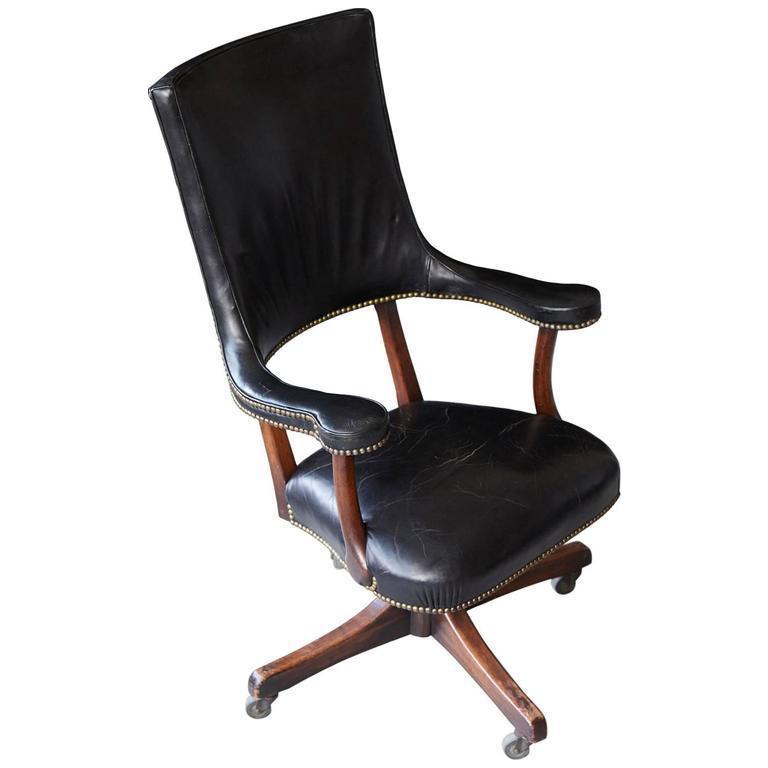 yale burge high back leather and walnut chair