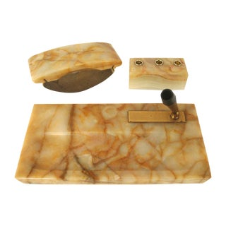 Vintage Onyx Stone Office Desk Accessories, Set of 3