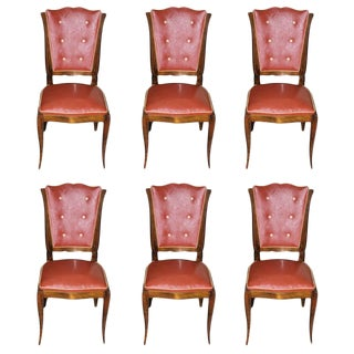 Suite of Six French Art Deco Mahogany Dining Chairs by Rafael, circa 1940s.