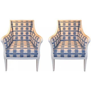 Vintage White Lacquered Club Chairs - A Pair