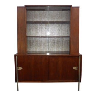 Vintage Mid Century Modern Hutch Display Cabinet With Etched Glass Doors by Mengel