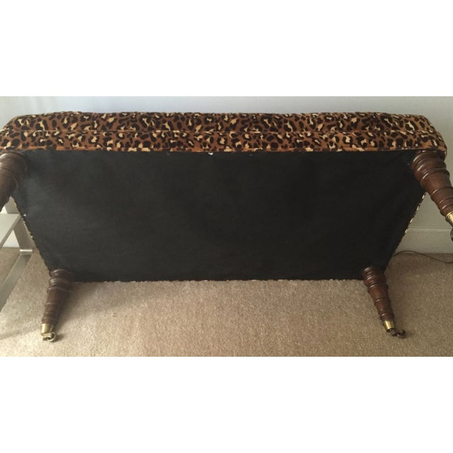 Leopard Upholstered Bench on Brass Casters - Image 6 of 8