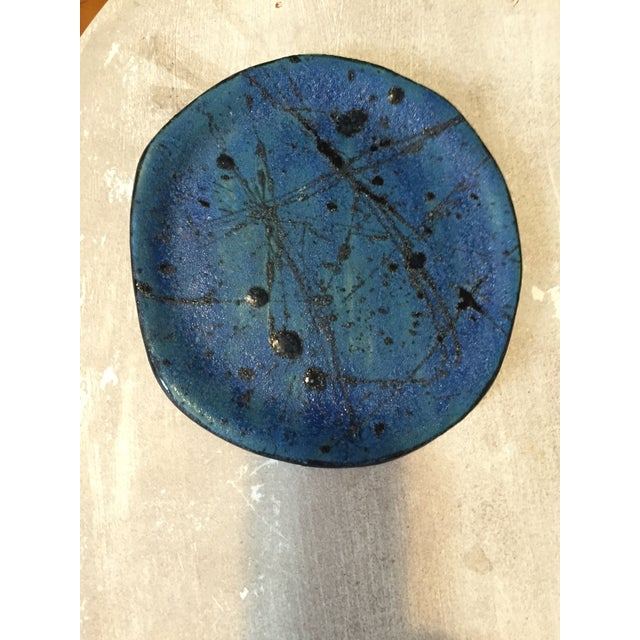 Blue & Black Abstract Plate - Image 3 of 3