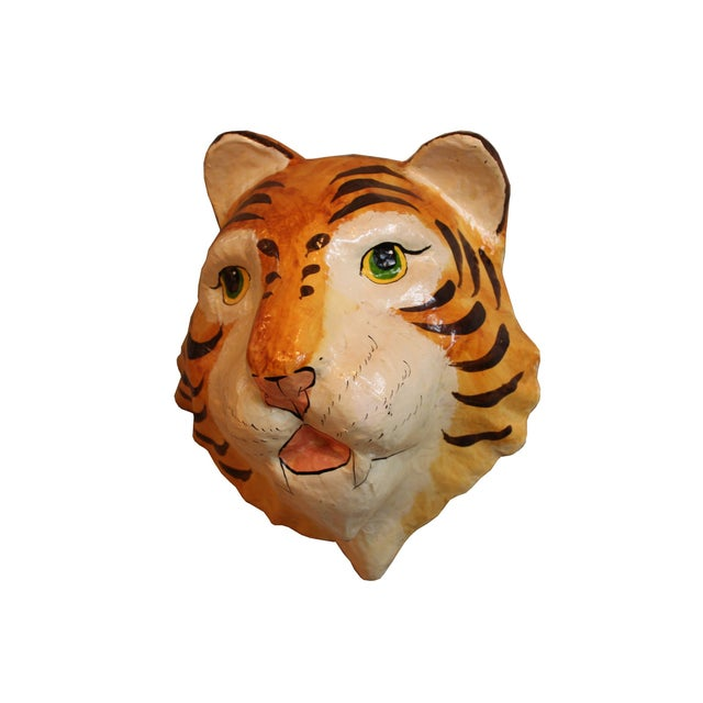 Decorative Paper-Mâché Tiger Mask - Image 2 of 4