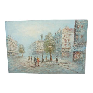 Vintage Impressionist Paris Scene, Oil on Canvas
