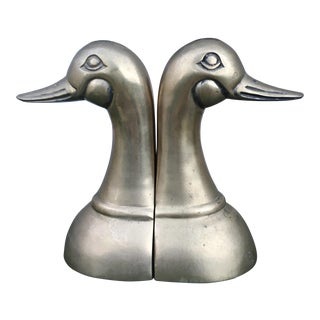 Art Deco Brass Duck Head Bookends - A Pair