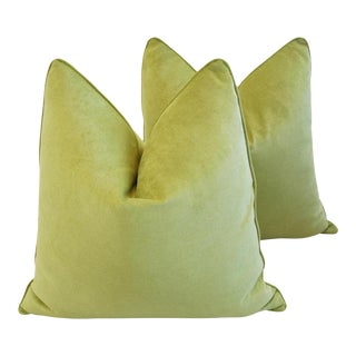 "24"" Custom-Tailored Apple Green Velvet Feather/Down Pillows - a Pair"