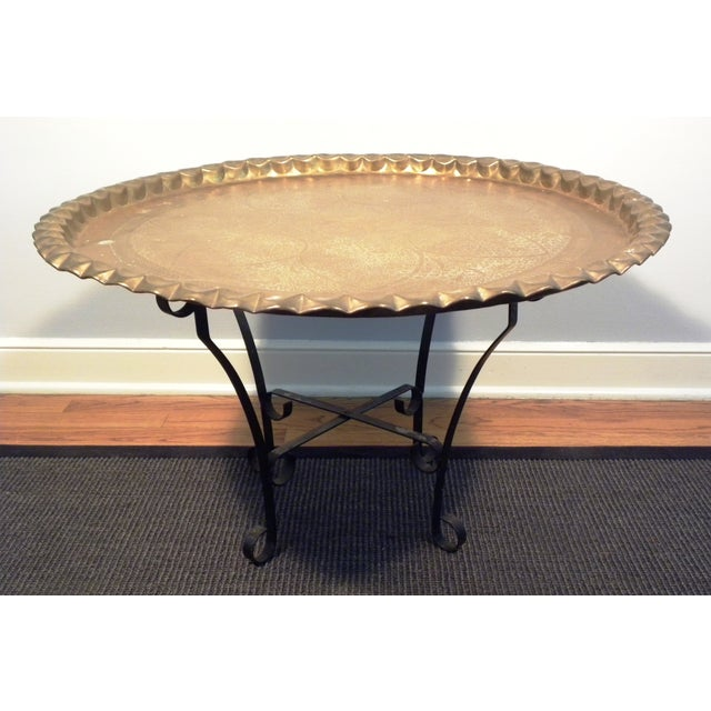 Image of Vintage Mid-Century Moroccan Brass Tea Table