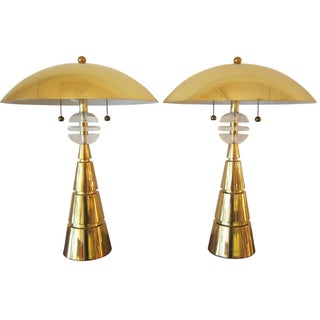 Brass Dome Lamps - A Pair