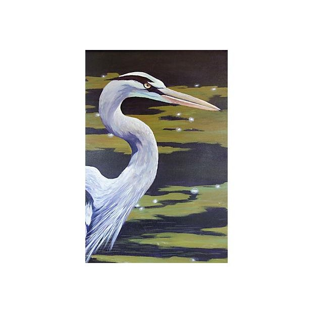 Dramatic Heron Portrait Painting - Image 4 of 6