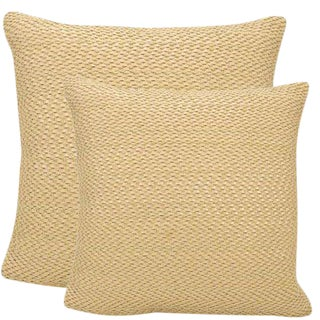"Pair of Woven Leather & Suede Decorative Pillows - 20""x20"""