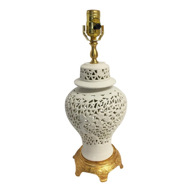 Blanc De Chine Ginger Jar Lamp on Gilt Base - Image 1 of 5