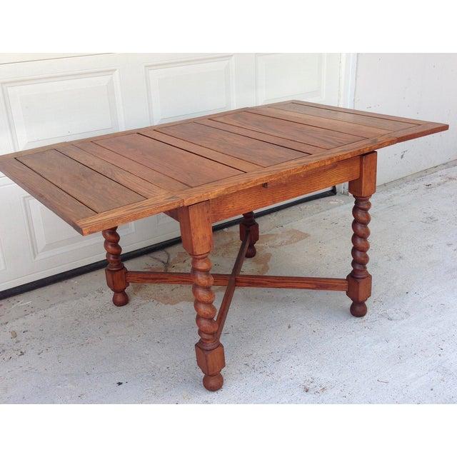 Antique Oak Barley Twist Pub Style Dining Table