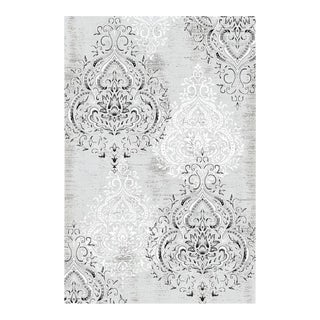 Damask Gray & White Rug - 6'8'' x 9'8''