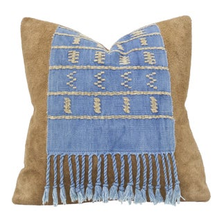 Vintage Mayan Tapestry & Suede Pillow