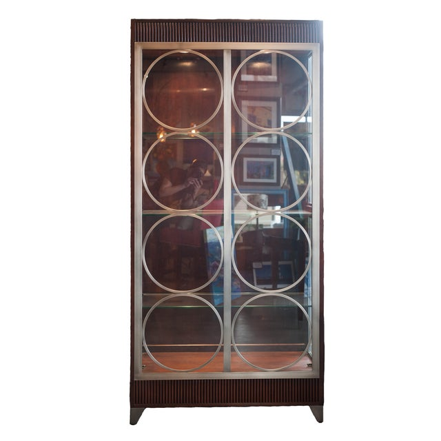 Image of Ethan Allen Dark Stained Mahogany China Cabinet