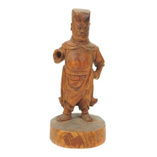 Chinese 19th C. Carved Wooden Figurine Scholar