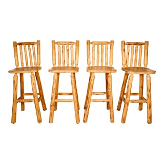 Montana Woodwork Wooden Bar Stools - Set of 4