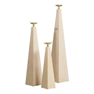 A Set of Three Maitland Smith Stone Veneered Obelisks 1980s