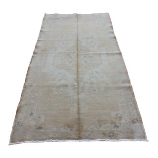 Mid 20th C. Vintage Antique Tribal Oushak Neutral Soft Hand Knotted Turkish Rug - 4'2 X 8'