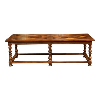French Walnut Coffee Table With Parquet Top