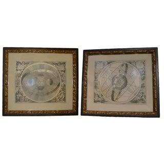 Antique Framed Celestial Prints - A Pair