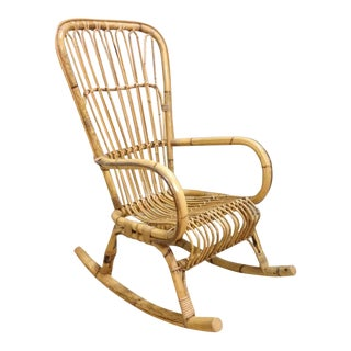 Vintage Highback Rattan Rocking Chair